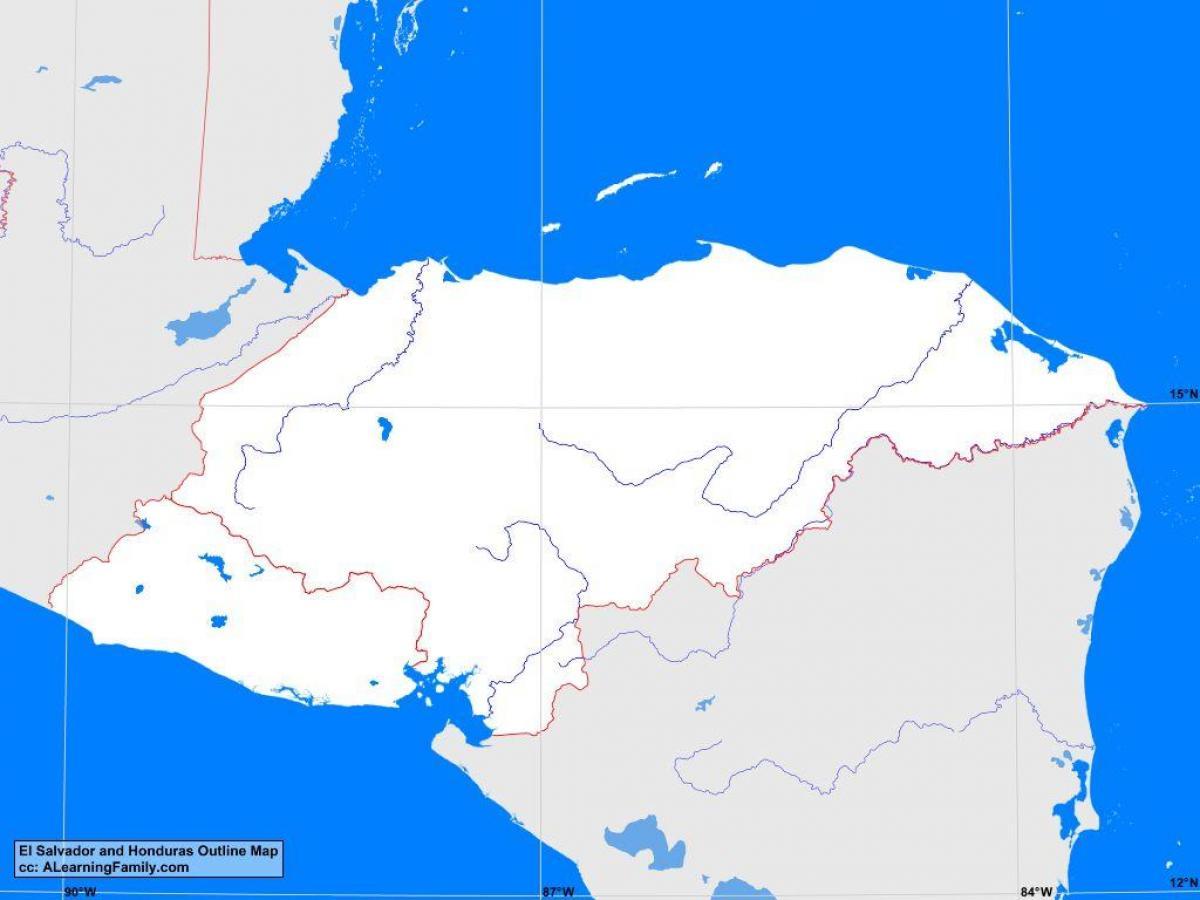 Honduras Kort Skitse Honduras Blanke Kort Central Amerika