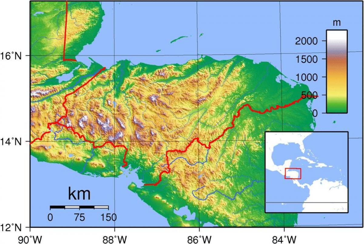 Honduras Topografisk Kort Kort Over Honduras Topografisk